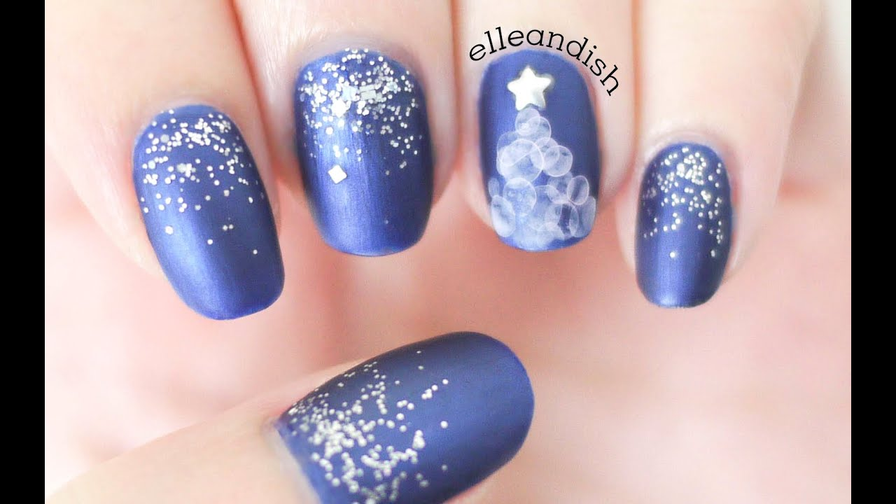 Water Bubble Christmas Tree Nails Youtube