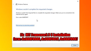 How to fix .Net error 0x800f0906