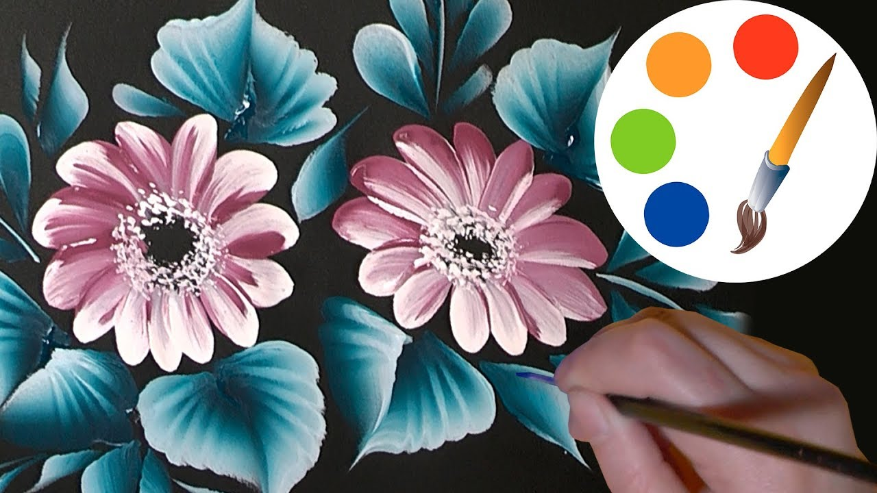 Paint the simple flowers on a black by a round brush irishkalia