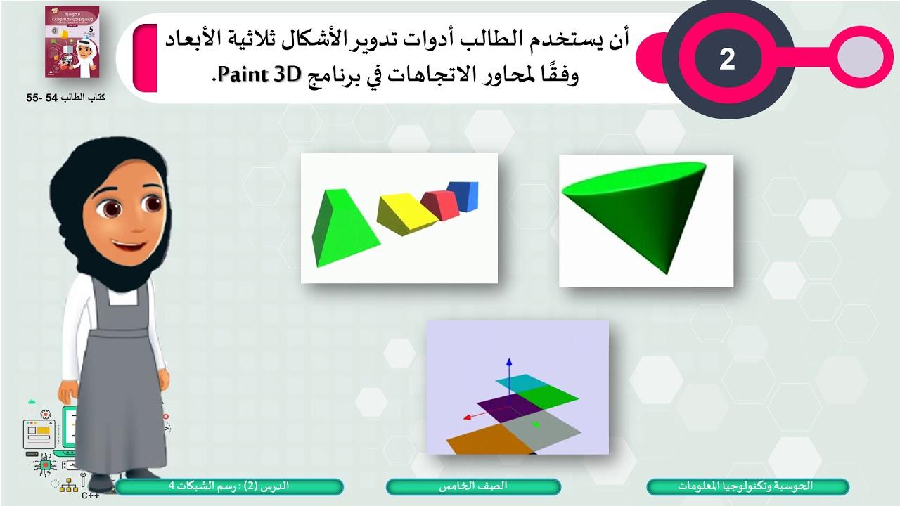 الصف الخامس الحوسبة وتكنولوجيا المعلومات  رسم الشبكات 4