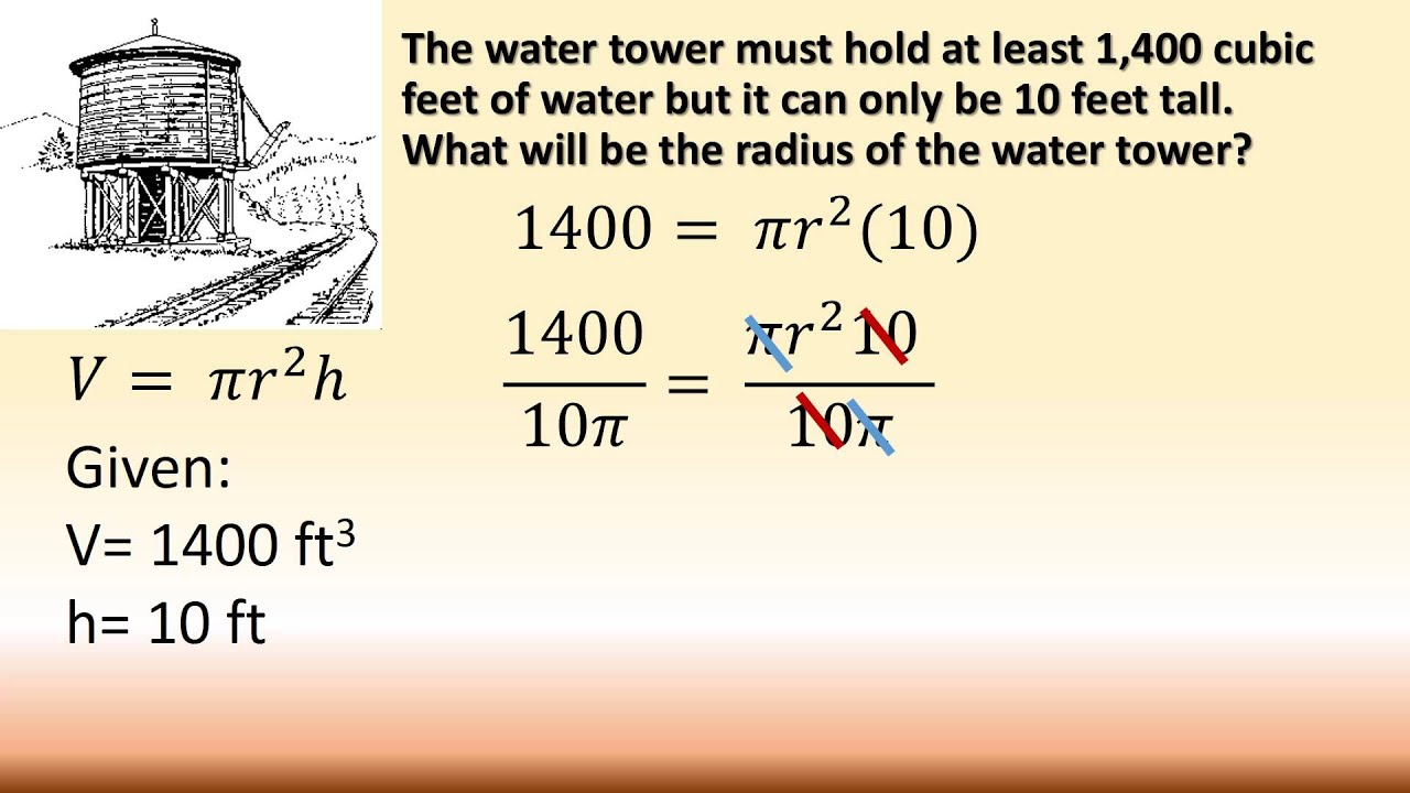 Find The Radius Of A Cylinder Given Volume Height Youtube
