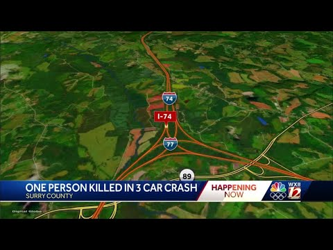 3-car interstate crash kills 1 person in Surry County