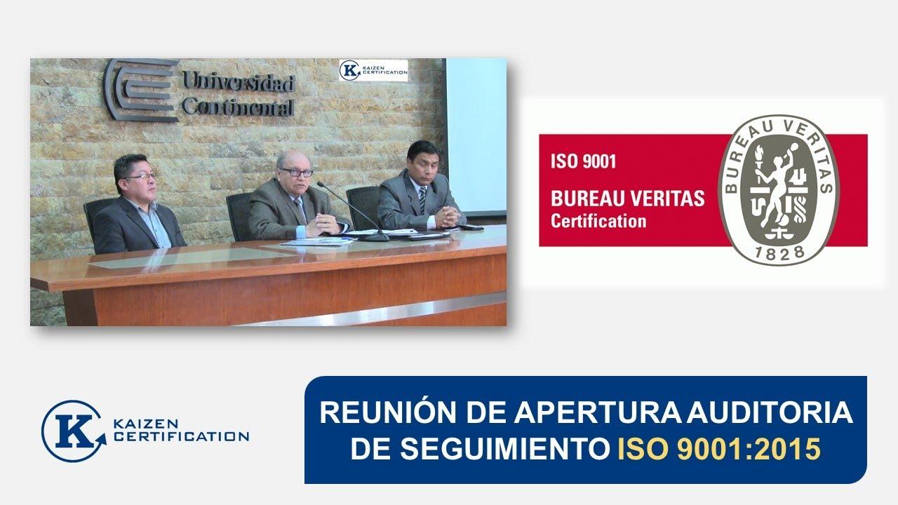 Reunion de apertura auditoria seguimiento 1 2 bureau veritas universidad continental youtube - Veritas bureau de controle ...