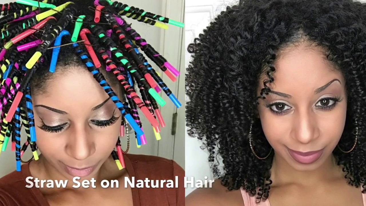 Straw Set On Natural Hair Youtube