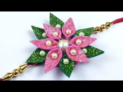 Handmade Rakhi Design 2019 - आसान राखी बनाना सीखे - Easy FLower Rakhi Making at Home