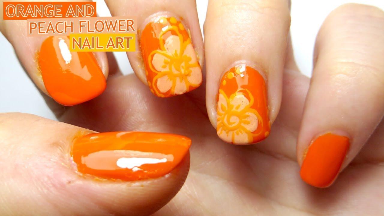 Orange And Peach Flower Nail Art Youtube