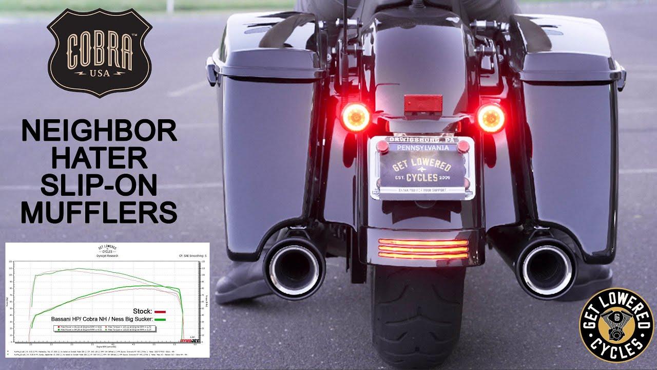 2020 road glide stage 1 cobra neighbor hater slipon mufflers stock vs bassani hp sound clip dyno