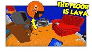 Minecraft The Floor Is Lava - FUGA DALLA CAMERETTA DI LAVA! w/ Two Players One Console
