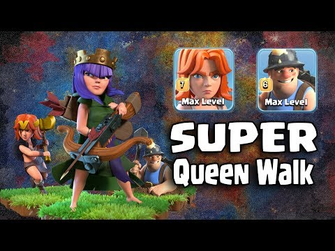 Super Queen Walk + 25 Max Miner + 5 Max Valks Totally Destroy 3 Inferno Tower TH12 War Bases