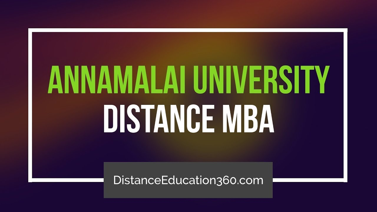 Annamalai University Distance Education MBA Courses Admission Fee