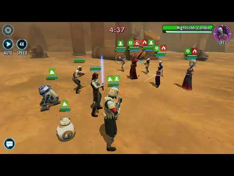 SWGOH Rey and the Troopers vs General Kenobi and the Nightsisters
