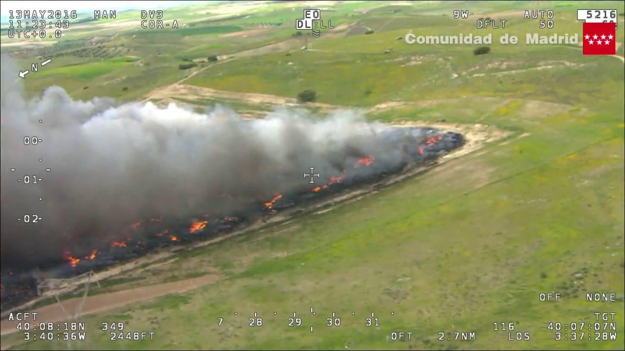 Incendio de neumáticos en Seseña desde un Drone