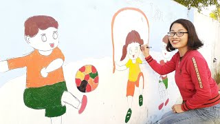 Các cô ở trường mầm non xã cẩm hà vẽ và tô màu những tấm hình lên tường rất đẹp$Bá Thành Vlog$