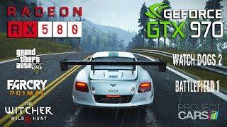 Скачать RX 580 Vs GTX 970 Test In 6 Games I5 7600k
