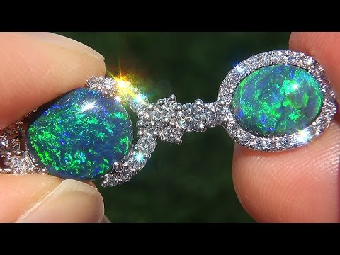 "7837a11a1 GIA Certified Natural ""Lightning Ridge"" Australian Black Opal & Diamond Stud  Earrings - A141660"