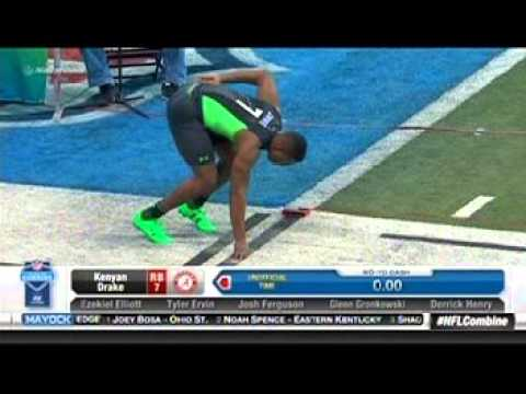 Kenyan Drake and Derrick Henry run the 40 yard dash at the 2016 NFL Scouting Combine