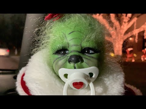 The Grinch Baby hates Christmas lights!