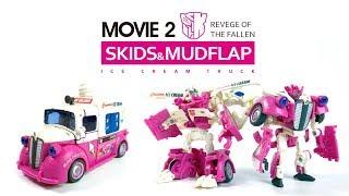 KL變形金剛玩具分享220 ROTF D級 冰淇淋車 煞車u0026泥檔+升級貼紙 Skids u0026 Mudflap ice cream truck+Reprolabels