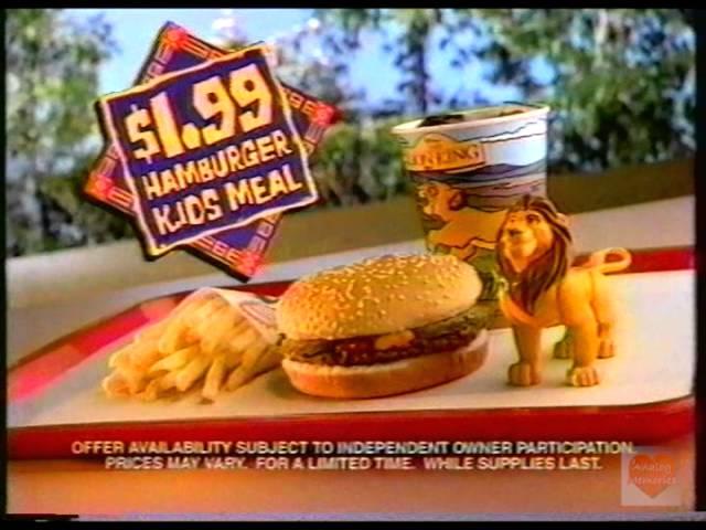 Burger King Lion King Kids Meal Television Commercial 1994