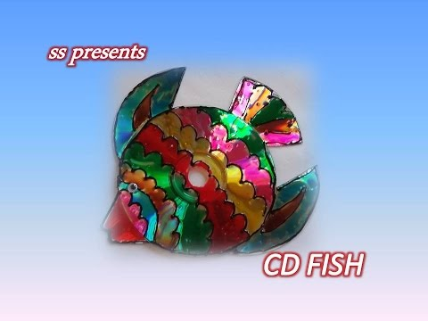 How to make fish using cd 39 s recycled cd crafts ideas for Craft model with waste material