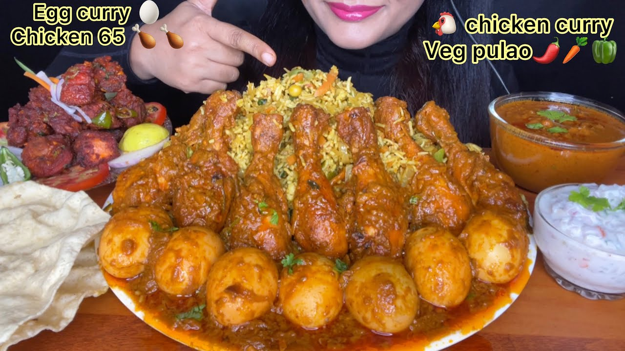 ASMR:EATING🔥SPICY VEG PULAO,SPICY CHICKEN CURRY,EGG CURRY,CHICKEN 65 *FOOD EATING VIDEOS*