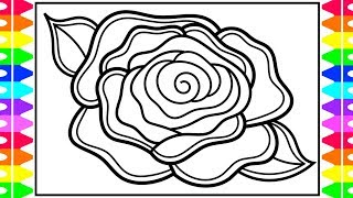 How to Draw a Rose for Kids 🌹Rose Drawing | Rose Coloring Pages for Kids