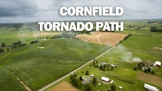 Cornfield Tornado Damage Path - East of Kelso MO Aerial (drone) view - 7/9/2015