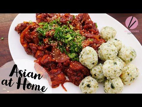 Korean Spicy Chicken & Rice Balls Buldak & Jumukbap