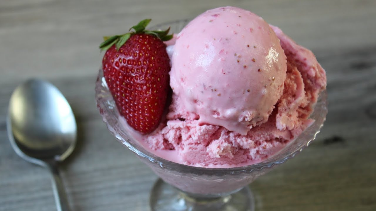 Strawberry Ice Cream Fast Easy Strawberry Ice Cream Eggless