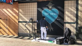 Seattle artist Dozfy brings beauty to boarded-up businesses - KING 5 Evening