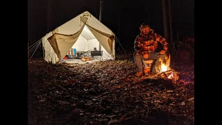 Early Winter Camping in a Canvas Wall Tent with a Wood Stove