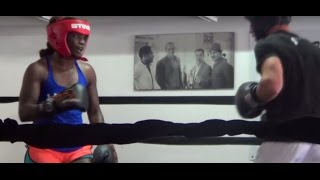 Claressa Shields HARD SPARRING with male boxer at 5th Street Gym in Miami