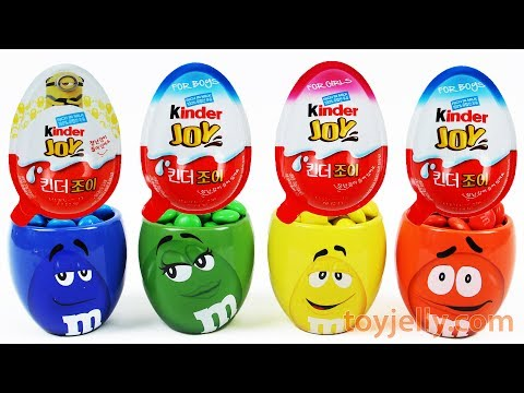 Learn Colors M&M's Chocolate Cup Toys Kinder Joy Surprise Eggs Baby Nursery Rhymes for Kids Children