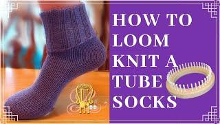 How to Loom Knit Tube Socks