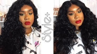 STYLE PLUS HUMAN HAIR BLEND LACE FRONT WIG CROSS PART LACE CURLY| Samsbeauty