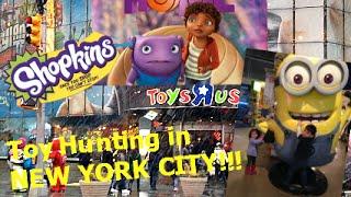 "TOYS-R-US in NEW YORK CITY! Toy Hunting SHOPKINS, DREAMWORKS MOVIE ""HOME, SPONGEBOB, PAW PATROL"