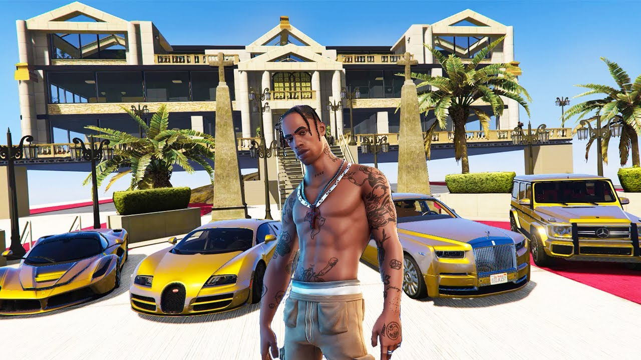 GTA 5 ✪ Stealing TRAVIS SCOTT Luxury Cars with Michael ✪ (Real Life Cars #31)