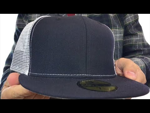 6ff1513eab6dc New Era  MESH-BACK 59FIFTY-BLANK  Navy-White Fitted Hat - YouTube
