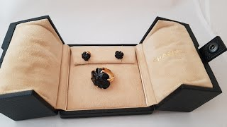 Chanel Camellia Onyx кольцо и серьги желтое золото. Обзор оригинальных ювелирных украшений!