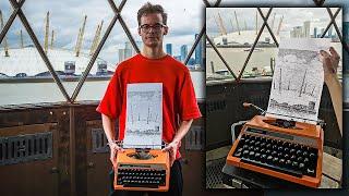 Typewriter Art of the London Skyline at Trinity Buoy Wharf Lighthouse