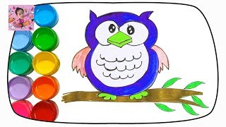 How to Draw an Owl Coloring and Drawing Learn Colors for Kids Children