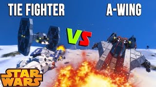 Space Engineers - STAR WARS BATTLE - TIE Fighter VS A -Wings!
