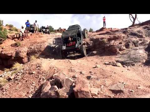 Wide Open Design Jeep Chassis walks a 6 ft ledge on Steel Bender Trail, Moab, July 2017