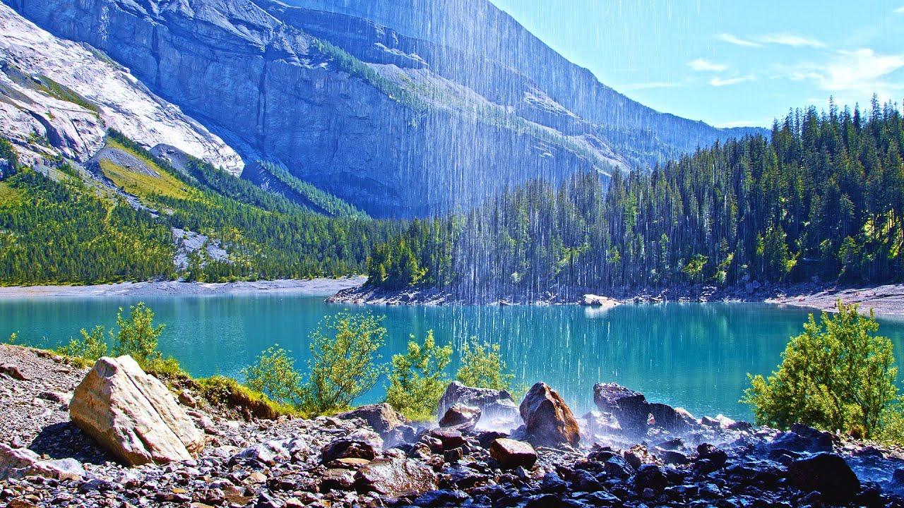 ASMR Waterfall Sounds for Sleeping or Meditation, 4K Swiss Lake Background