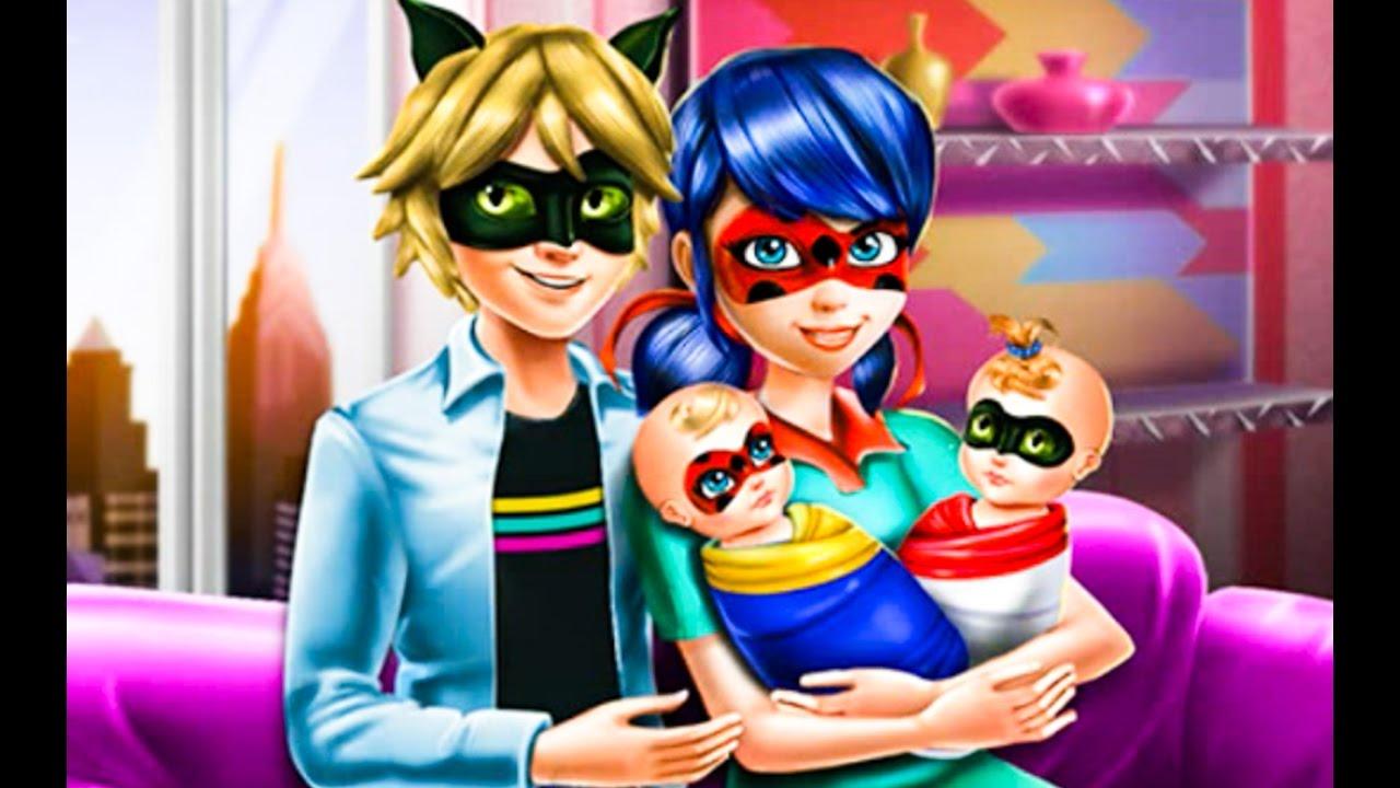 Miraculous Ladybug Baby Twins Family Day   Disney Cartoon Game Movie For  Kids   Ladybug And Cat Noir   YouTube