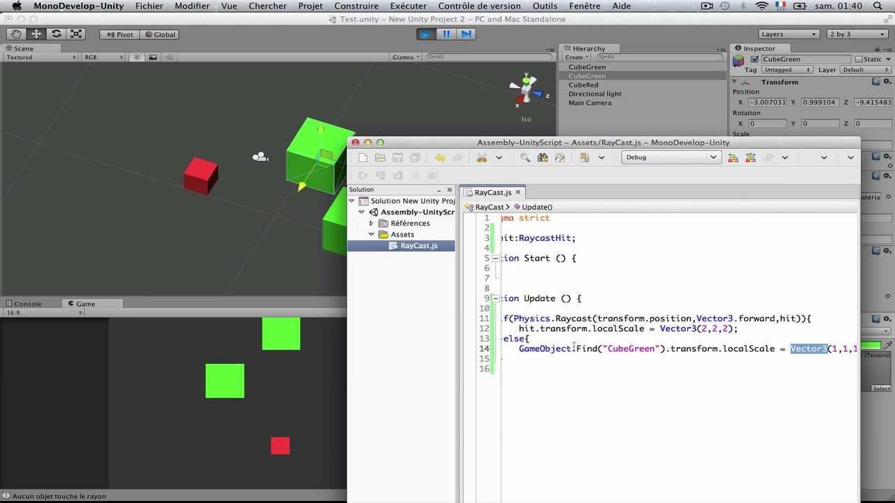 Raycast hit - Forum Unity3D-France