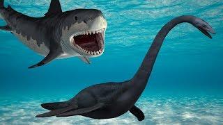 Динозавры. ПЛЕЗИОЗАВР и  АКУЛА. Спасение динозавров. Мультики про АКУЛУ