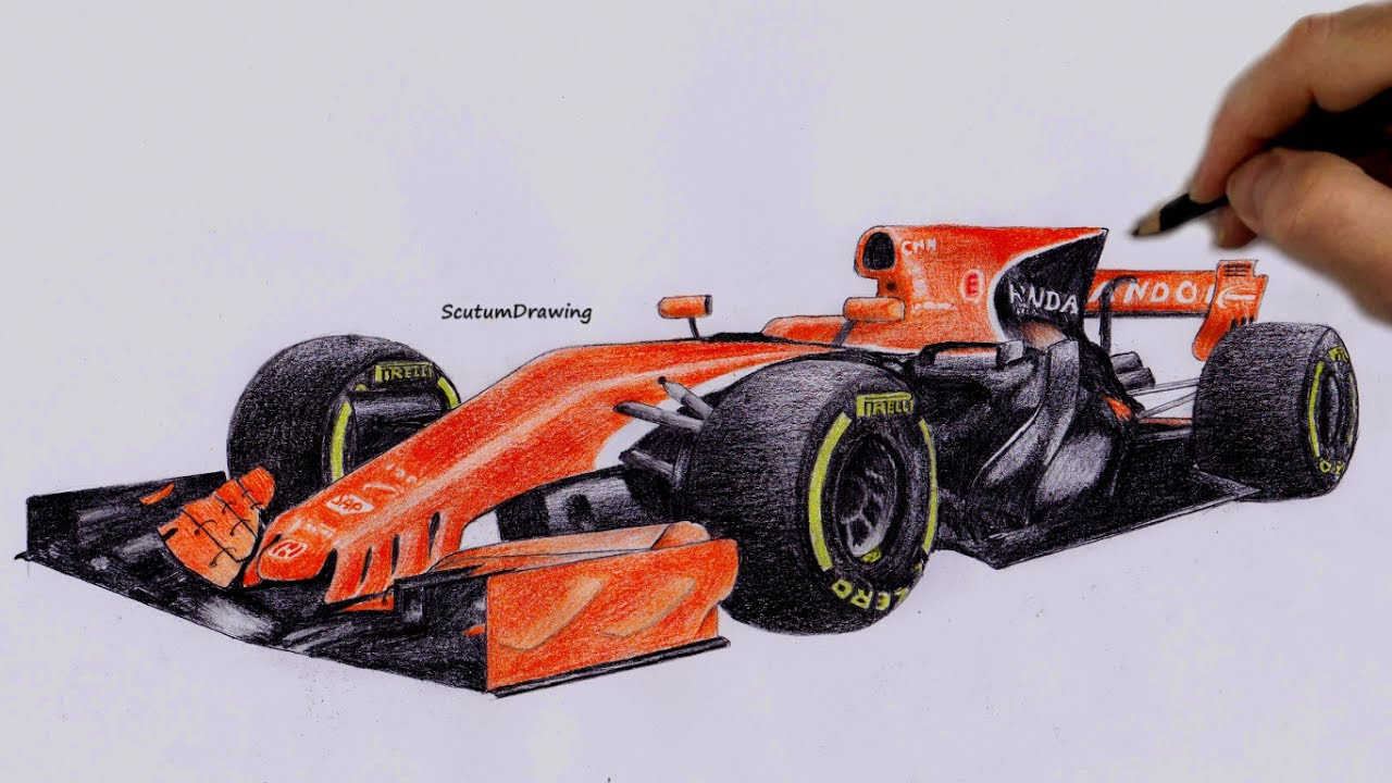 Mclaren Honda Mcl32 Speed Drawing How To Draw F1 Car Youtube