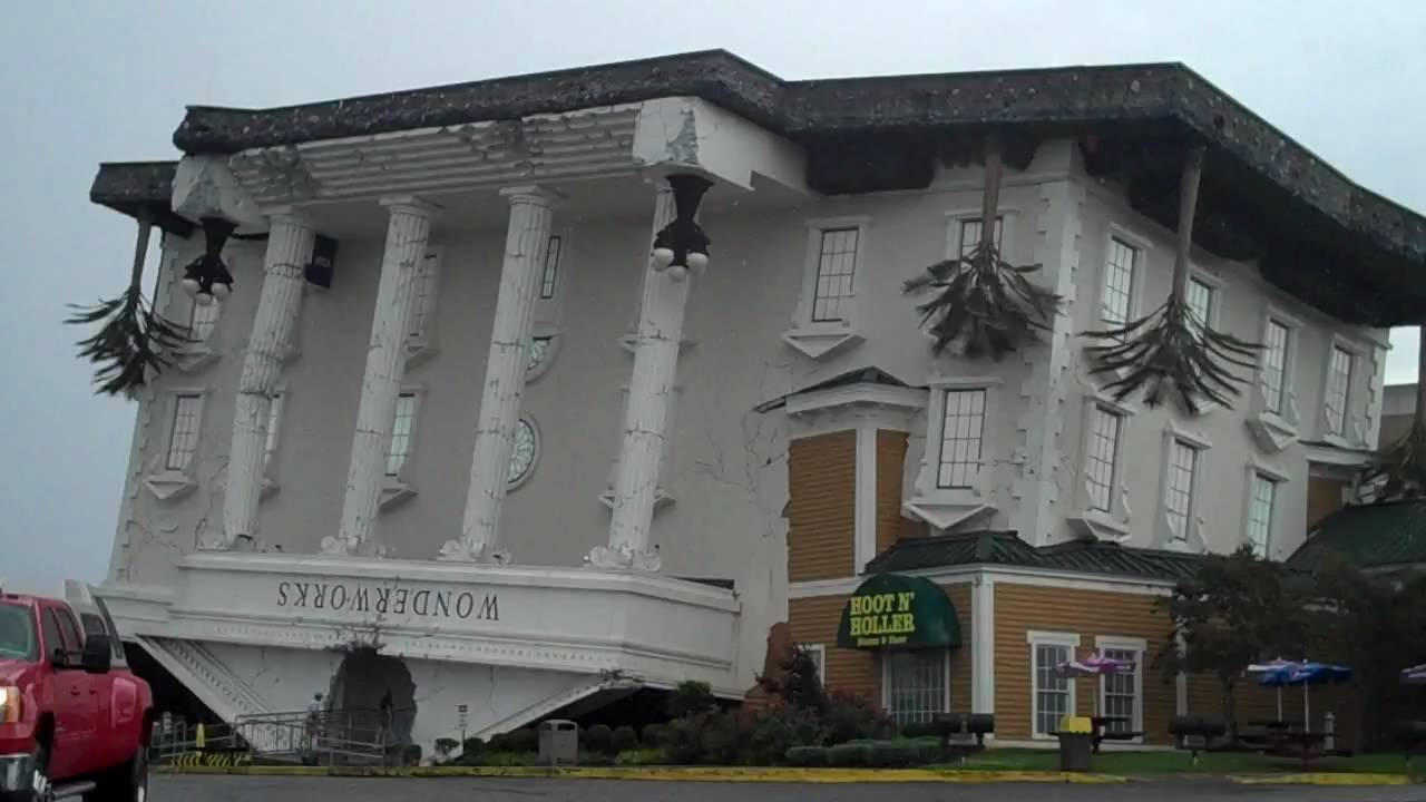 The Upside Down House cool upside down building in pigeon forge, tn - wonderworks - youtube