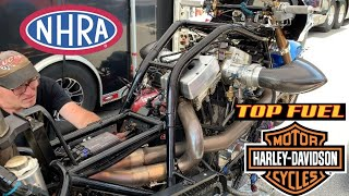 INSIDE LOOK INTO WHAT GOES ON IN A NHRA TOP FUEL NITRO HARLEY DRAG RACING PIT BETWEEN RUNS